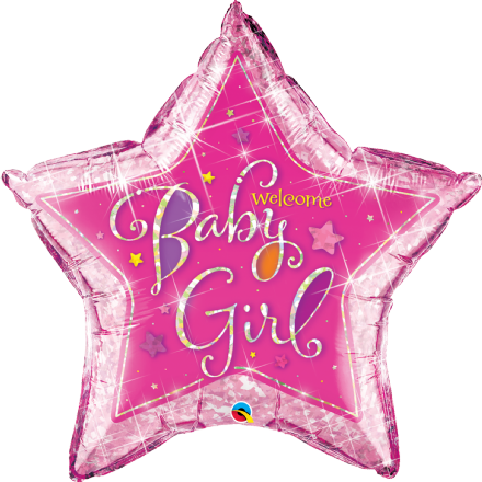 Pink Holographic 'Baby Girl' Star Foil Balloon